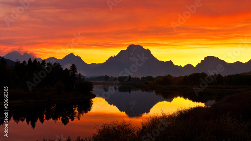 Smokey Sunset at Oxbow Bend, Wyoming
