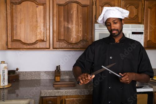 Keuken foto achterwand Boodschappen Sharpening Knife
