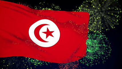 Tunisia flag waving. Fireworks background. Seamless loop.