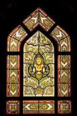 Stained glass window of angel, Marble temple,Bangkok,Thailand