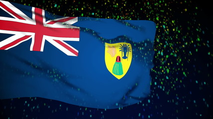Turks and Caicos flag waving. snow background.
