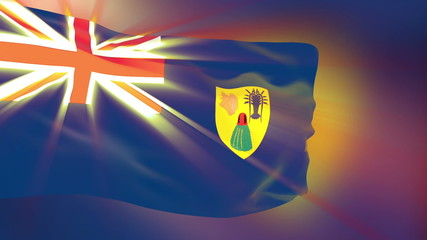Turks and Caicos flag slowly waving. Glow.