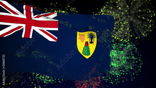 Turks and Caicos flag waving. Fireworks background.