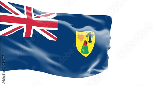 Turks and Caicos flag slowly waving. White background.