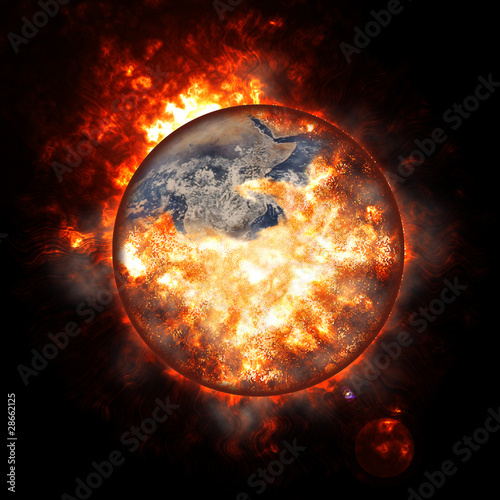 Illustration of an exploding planet earth