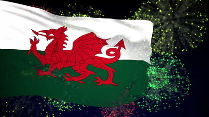 Wales flag waving. Fireworks background. Seamless loop.