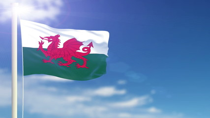 Wales flag waving. Sky background. Seamless loop.