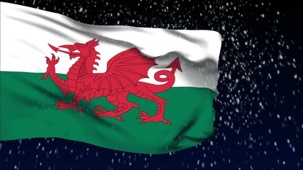 Wales flag waving. White snow background. Seamless loop.