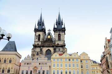 Tyn church old town square staromestske namesti Prague Czech Rep