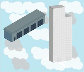 cloud and skyscraper