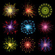set of 9 colorful fireworks
