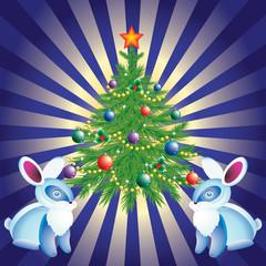 Christmas tree, and rabbits.