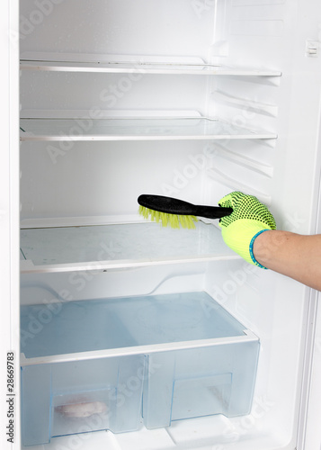 Refrigerator cleaning.