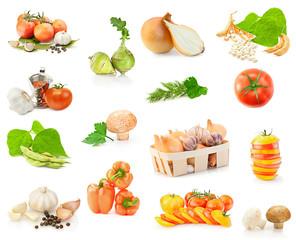 Fresh vitamin background. Set of fresh vegetables