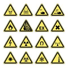 Hazard Warning safety signs vector