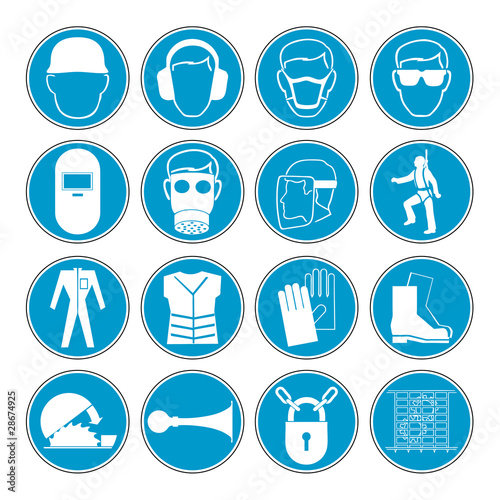 Construction safety equipment symbols signs vector