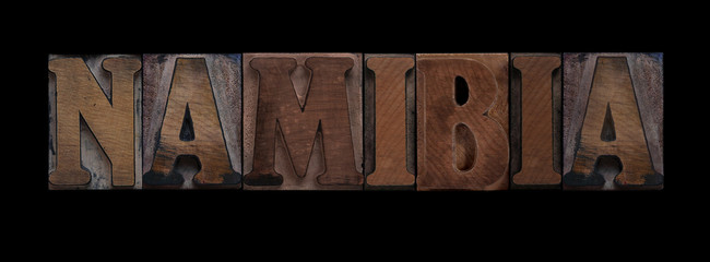 the word Namibia in old letterpress wood type