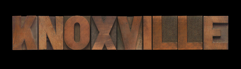 the word Knoxville in old letterpress wood type