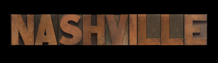 the word Nashville in old letterpress wood type