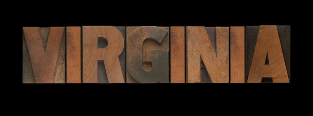 the word Virginia in old letterpress wood type