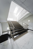 staircase with a steel handrail poster