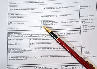 Filling permission for a visa to France