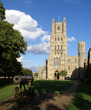 Front view of Ely Cathedral .