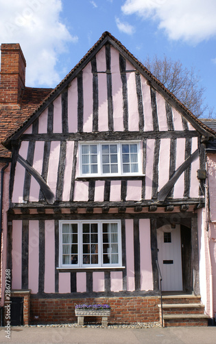 Crooked timber-framed house in Lavenham.