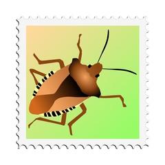 Forest bug. Vector stamp