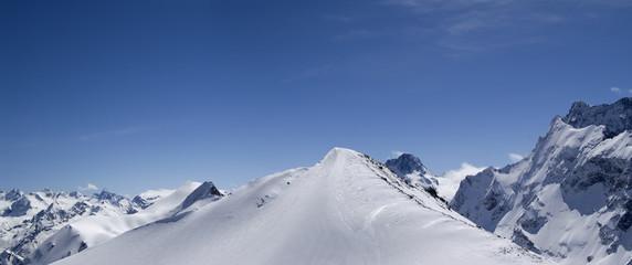 Panorama Caucasus Mountains, Dombay.
