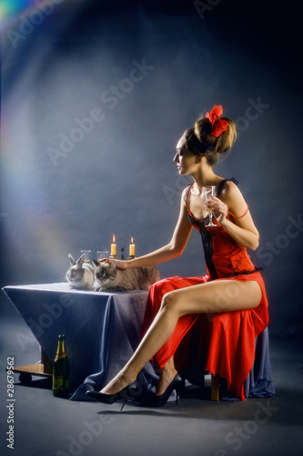 Party: Girl in red with Cat and Rabbit