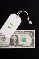 One Dollar Sales Tag with Dollar