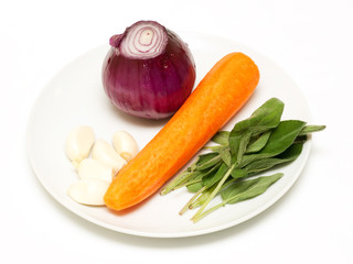 Vegetable selection to use with meat: onion, garlic, sage and ca