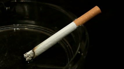 Zigarette im Aschenbecher brennt im Zeitraffer ab - Schwarz