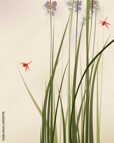 oriental style painting, tall grasses and flowers