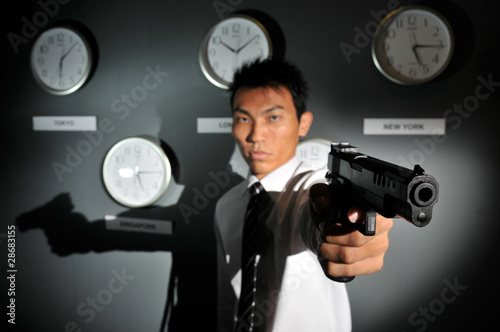 Asian Man with a Gun