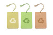 Three color tags with recycling symbols