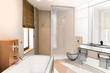 Bathroom accented in Wood II (3d)