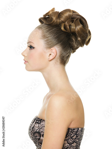 beautiful teenager girl with creative  hairstyle