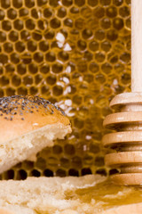 Beautiful yellow patch of healthy and tasty honey