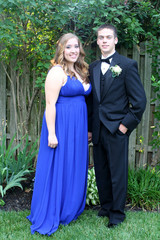 Outdoor Prom Couple By Fence 2