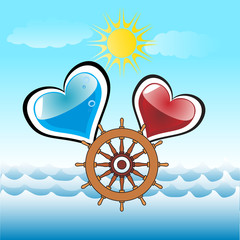 abstract man and woman married afloat life symbol
