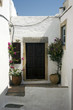 White house entrance in Chora of Patmos