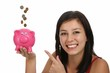 Pretty Woman with Piggybank