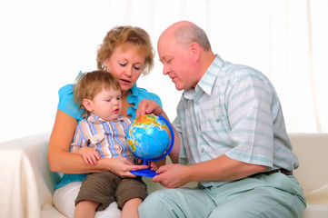 Grandmother, grandfather and grandson
