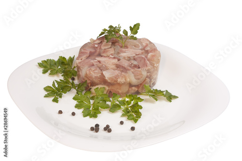 Aspic on plate isolated on white with clipping path