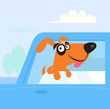 Happy brown and black dog travelling in blue car. VECTOR
