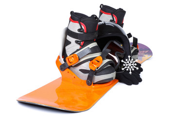 The complete set of the equipment for snowboarding