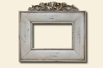 White wooden photo frame with carvings