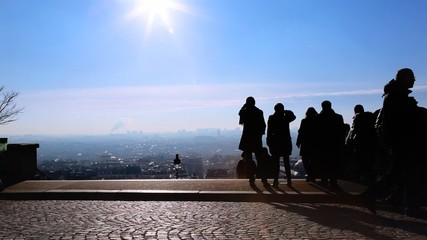 people picture taken and looks at Paris from Montmartre hill